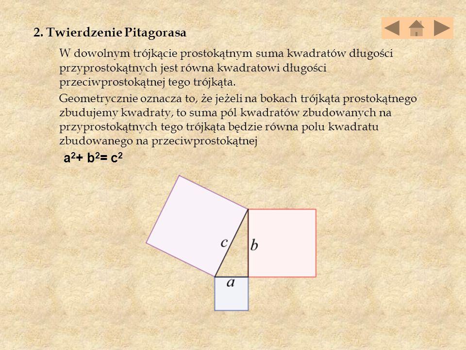 2. Twierdzenie Pitagorasa W dowolnym trójkącie prostokątnym suma kwadratów długości przyprostokątnych jest równa kwadratowi długości przeciwprostokątn