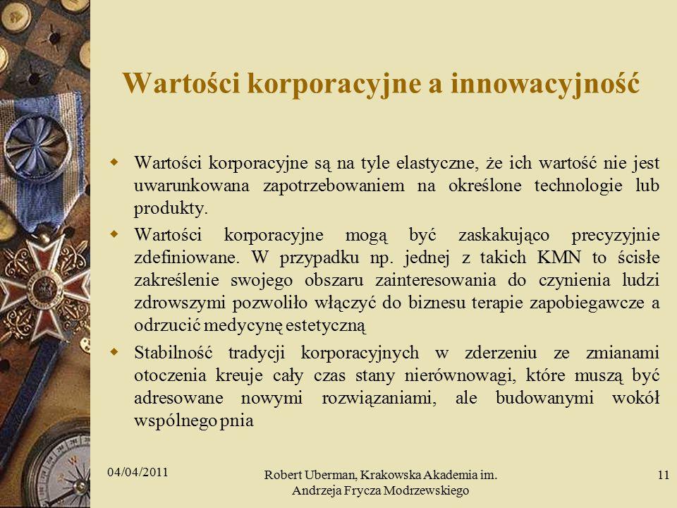 Wartości korporacyjne a innowacyjność  Wartości korporacyjne są na tyle elastyczne, że ich wartość nie jest uwarunkowana zapotrzebowaniem na określone technologie lub produkty.