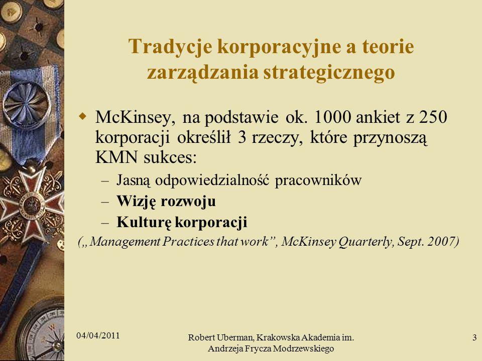 Tradycje korporacyjne a teorie zarządzania strategicznego  McKinsey, na podstawie ok.