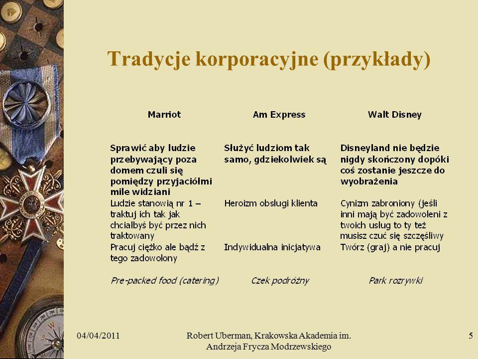 Tradycje korporacyjne (przykłady) 04/04/20115Robert Uberman, Krakowska Akademia im.