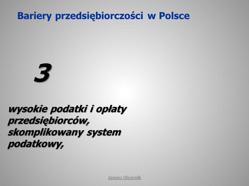 Bariery przedsiębiorczości w Polsce 3 wysokie podatki i opłaty przedsiębiorców, skomplikowany system podatkowy, Janusz Olearnik