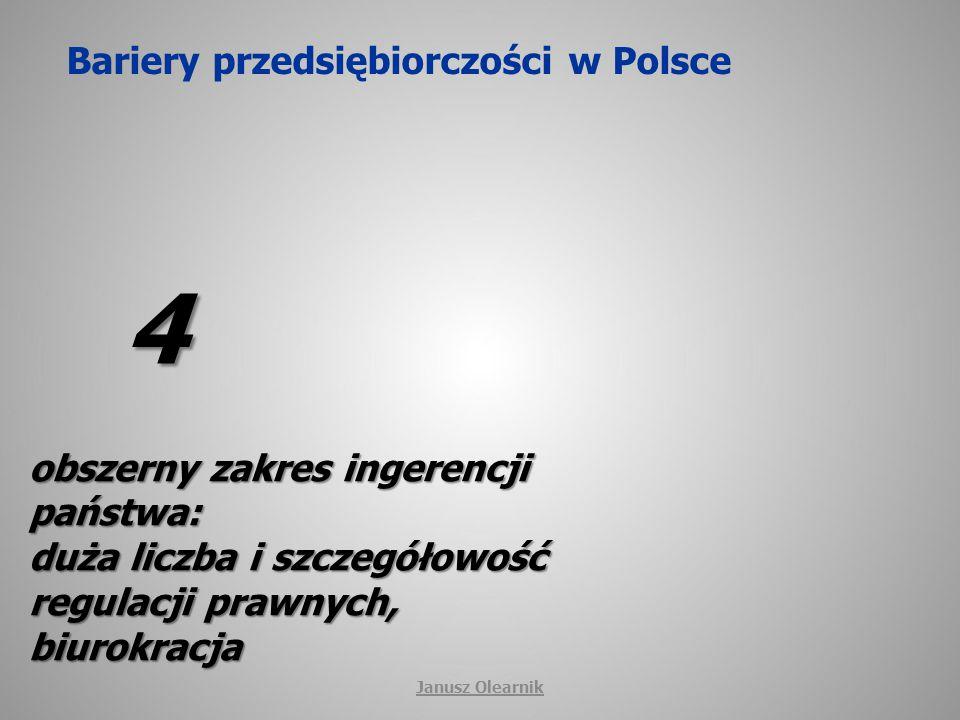 Bariery przedsiębiorczości w Polsce 4 obszerny zakres ingerencji państwa: duża liczba i szczegółowość regulacji prawnych, biurokracja Janusz Olearnik