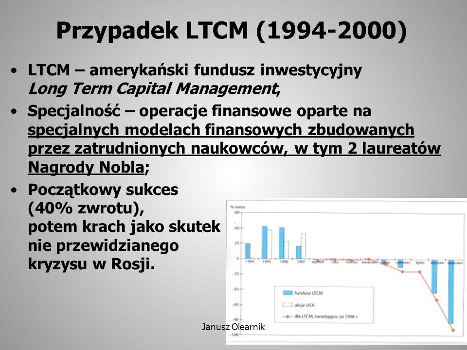 Przypadek LTCM (1994-2000) LTCM – amerykański fundusz inwestycyjny Long Term Capital Management, Specjalność – operacje finansowe oparte na specjalnyc