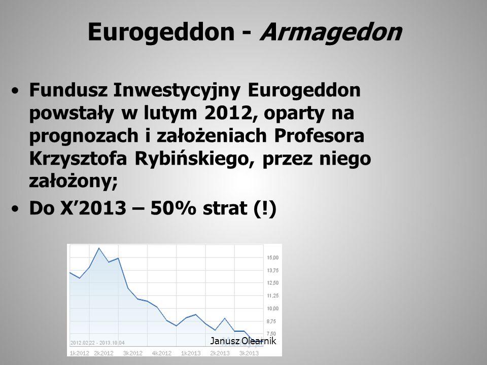 Eurogeddon - Armagedon Fundusz Inwestycyjny Eurogeddon powstały w lutym 2012, oparty na prognozach i założeniach Profesora Krzysztofa Rybińskiego, prz