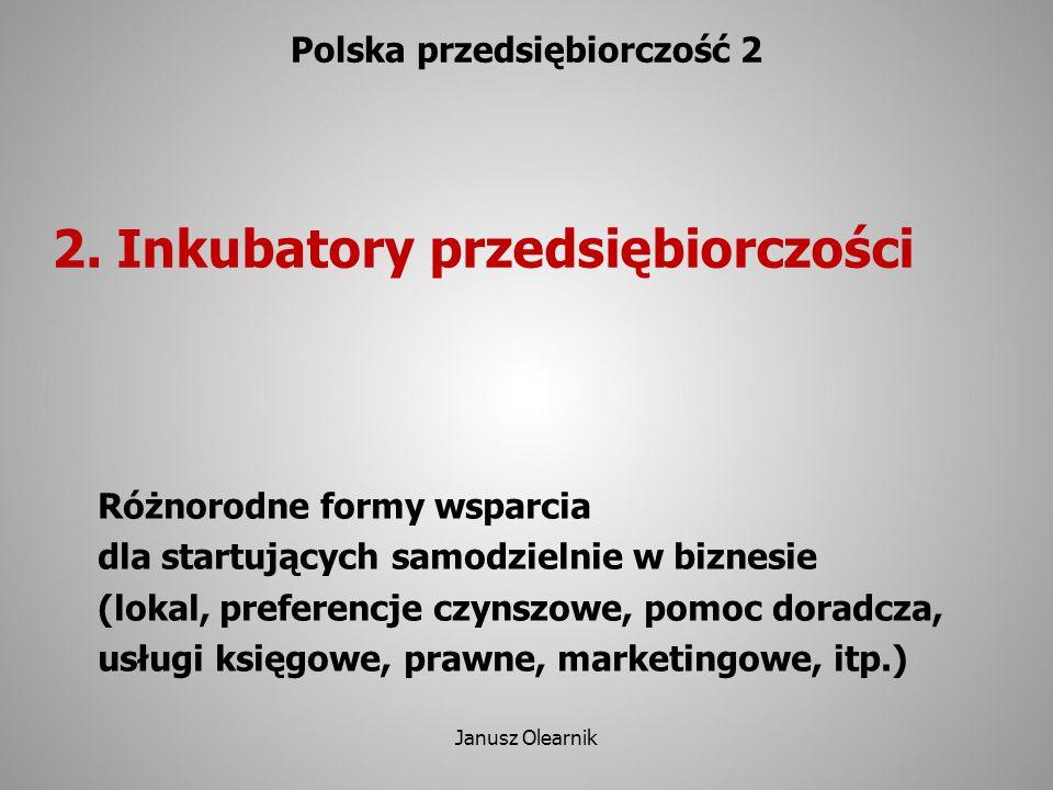 2. Inkubatory przedsiębiorczości Polska przedsiębiorczość 2 Różnorodne formy wsparcia dla startujących samodzielnie w biznesie (lokal, preferencje czy