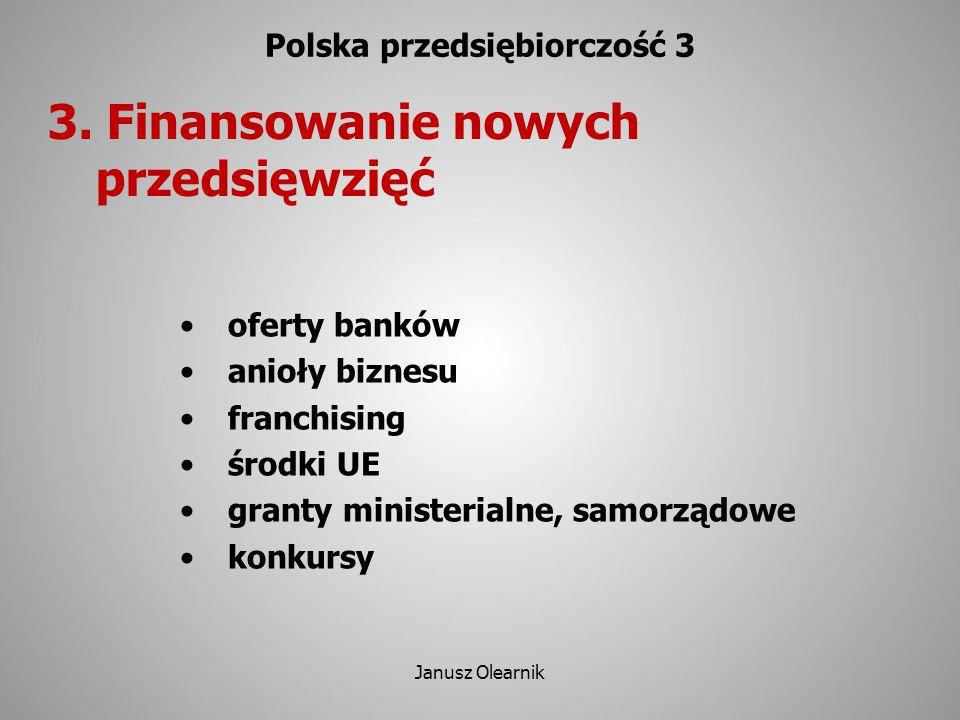 3. Finansowanie nowych przedsięwzięć Polska przedsiębiorczość 3 oferty banków anioły biznesu franchising środki UE granty ministerialne, samorządowe k