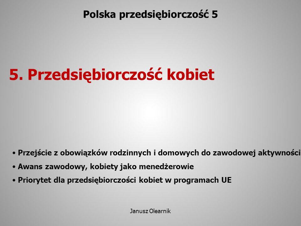 5. Przedsiębiorczość kobiet Polska przedsiębiorczość 5 Przejście z obowiązków rodzinnych i domowych do zawodowej aktywności Awans zawodowy, kobiety ja