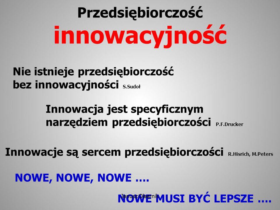 Przedsiębiorczość innowacyjność Nie istnieje przedsiębiorczość bez innowacyjności S.Sudoł Innowacje są sercem przedsiębiorczości R.Hisrich, M.Peters I