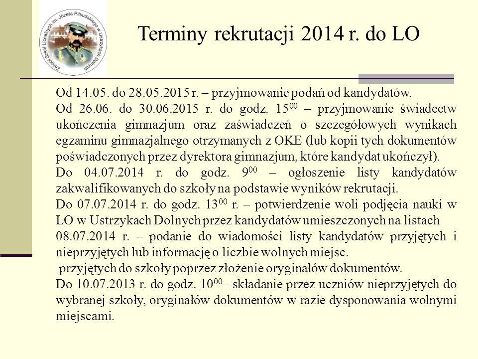 Terminy rekrutacji 2014 r. do LO Od 14.05. do 28.05.2015 r.