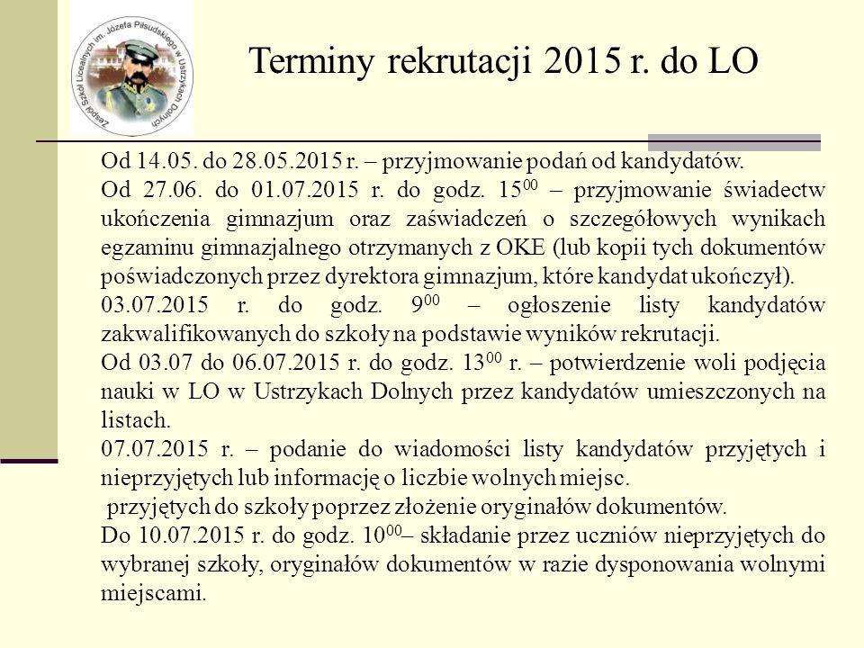 Terminy rekrutacji 2015 r. do LO Od 14.05. do 28.05.2015 r.