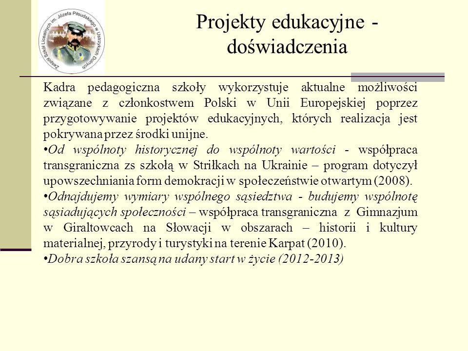 Projekty edukacyjne - doświadczenia Kadra pedagogiczna szkoły wykorzystuje aktualne możliwości związane z członkostwem Polski w Unii Europejskiej poprzez przygotowywanie projektów edukacyjnych, których realizacja jest pokrywana przez środki unijne.