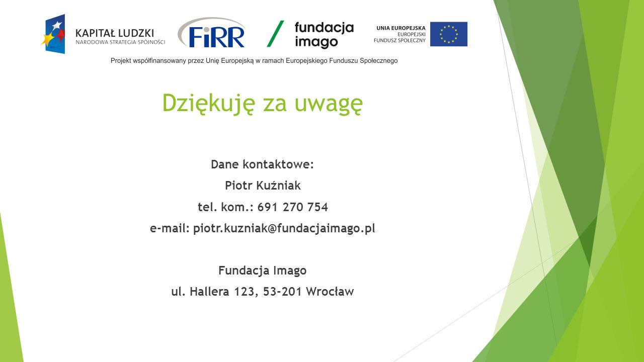 Dziękuję za uwagę Dane kontaktowe: Piotr Kuźniak tel.
