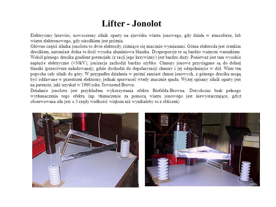 Lifter - Jonolot Elektryczny latawiec, nowoczesny silnik oparty na zjawisku wiatru jonowego, gdy działa w atmosferze, lub wiatru elektronowego, gdy oś