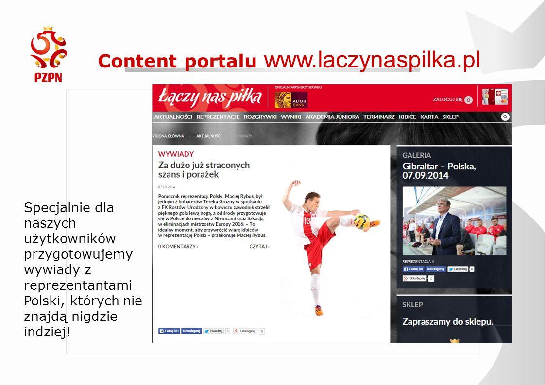 Content portalu www.laczynaspilka.pl Specjalnie dla naszych użytkowników przygotowujemy wywiady z reprezentantami Polski, których nie znajdą nigdzie i