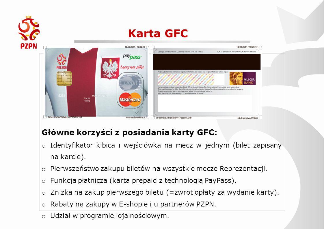 Karta GFC Główne korzyści z posiadania karty GFC: o Identyfikator kibica i wejściówka na mecz w jednym (bilet zapisany na karcie). o Pierwszeństwo zak