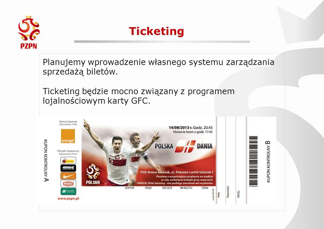 Ticketing Planujemy wprowadzenie własnego systemu zarządzania sprzedażą biletów. Ticketing będzie mocno związany z programem lojalnościowym karty GFC.