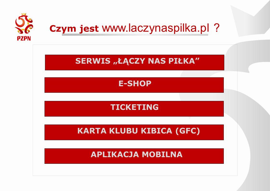"""Czym jest www.laczynaspilka.pl ? SERWIS """"ŁĄCZY NAS PIŁKA"""" E-SHOP TICKETING KARTA KLUBU KIBICA (GFC) APLIKACJA MOBILNA"""