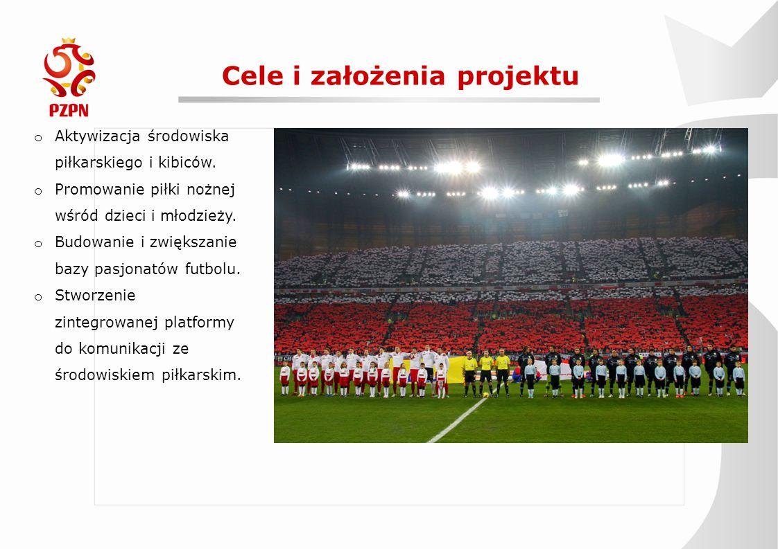 Cele i założenia projektu o Aktywizacja środowiska piłkarskiego i kibiców. o Promowanie piłki nożnej wśród dzieci i młodzieży. o Budowanie i zwiększan