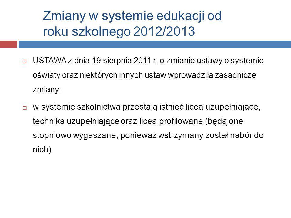 Zmiany w systemie edukacji od roku szkolnego 2012/2013  USTAWA z dnia 19 sierpnia 2011 r. o zmianie ustawy o systemie oświaty oraz niektórych innych