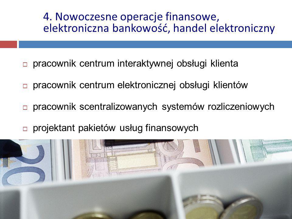  pracownik centrum interaktywnej obsługi klienta  pracownik centrum elektronicznej obsługi klientów  pracownik scentralizowanych systemów rozliczeniowych  projektant pakietów usług finansowych 4.