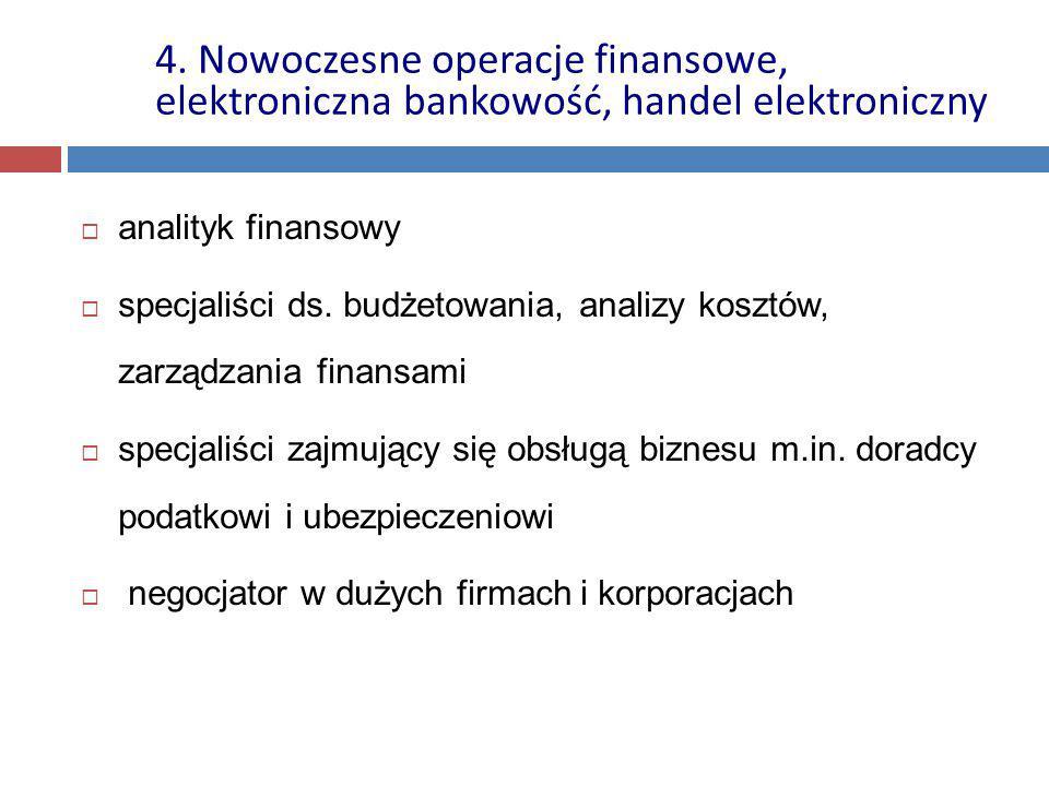  analityk finansowy  specjaliści ds. budżetowania, analizy kosztów, zarządzania finansami  specjaliści zajmujący się obsługą biznesu m.in. doradcy