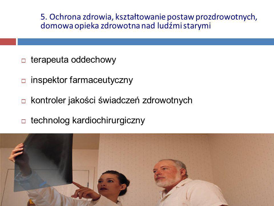  terapeuta oddechowy  inspektor farmaceutyczny  kontroler jakości świadczeń zdrowotnych  technolog kardiochirurgiczny 5. Ochrona zdrowia, kształto