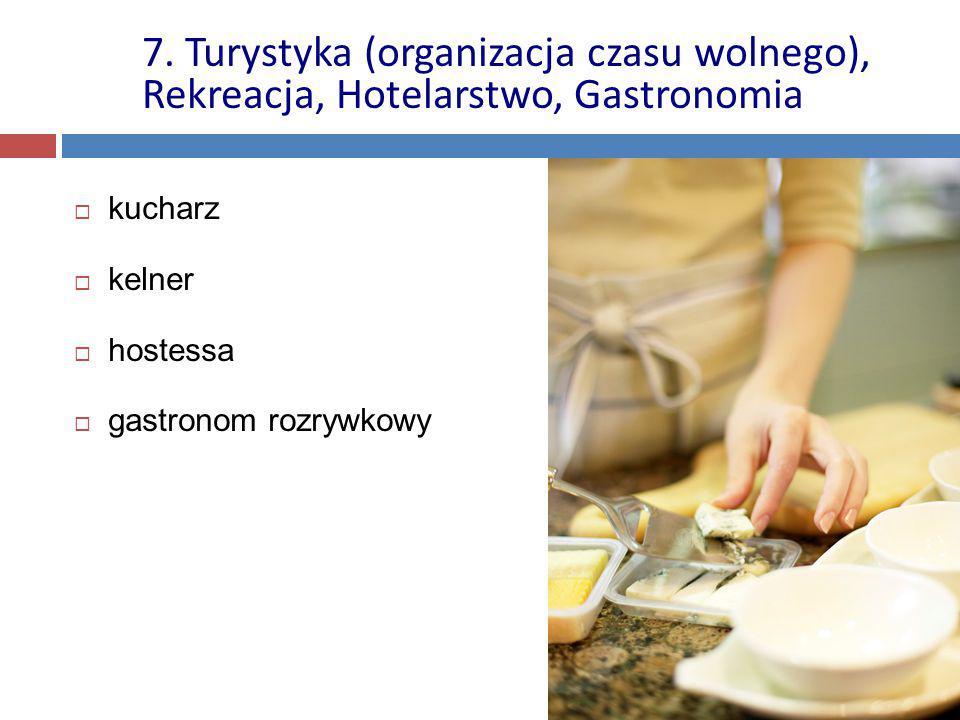  kucharz  kelner  hostessa  gastronom rozrywkowy 7. Turystyka (organizacja czasu wolnego), Rekreacja, Hotelarstwo, Gastronomia