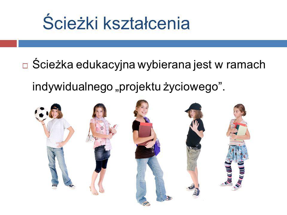 """Ścieżki kształcenia  Ścieżka edukacyjna wybierana jest w ramach indywidualnego """"projektu życiowego""""."""