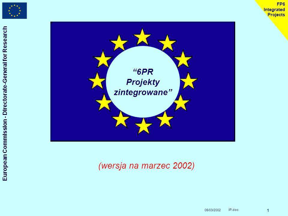 05/03/2002 European Commission - Directorate-General for Research IP.doc 1 FP6 Integrated Projects 6PR Projekty zintegrowane (wersja na marzec 2002)