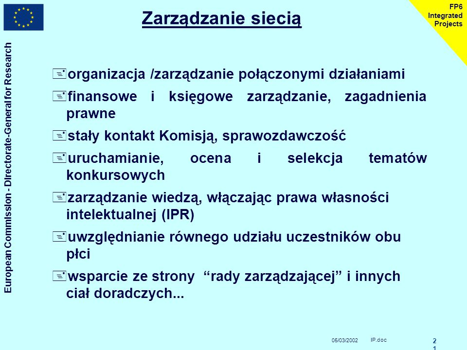 05/03/2002 European Commission - Directorate-General for Research IP.doc 2020 FP6 Integrated Projects Działania integracyjne +wspólne koordynowanie pr