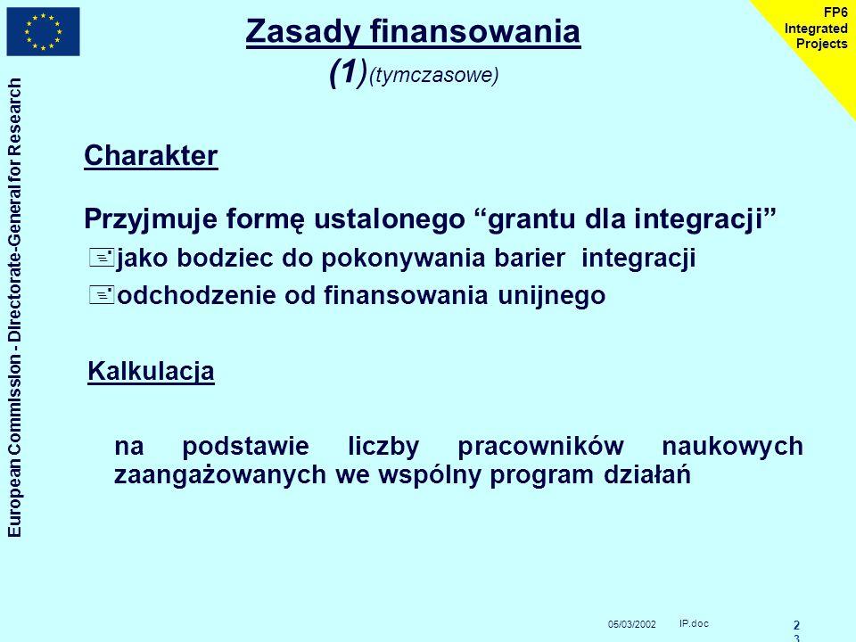 """05/03/2002 European Commission - Directorate-General for Research IP.doc2 FP6 Integrated Projects """"Promieniowanie""""doskonałości +rozpowszechnianie, kom"""