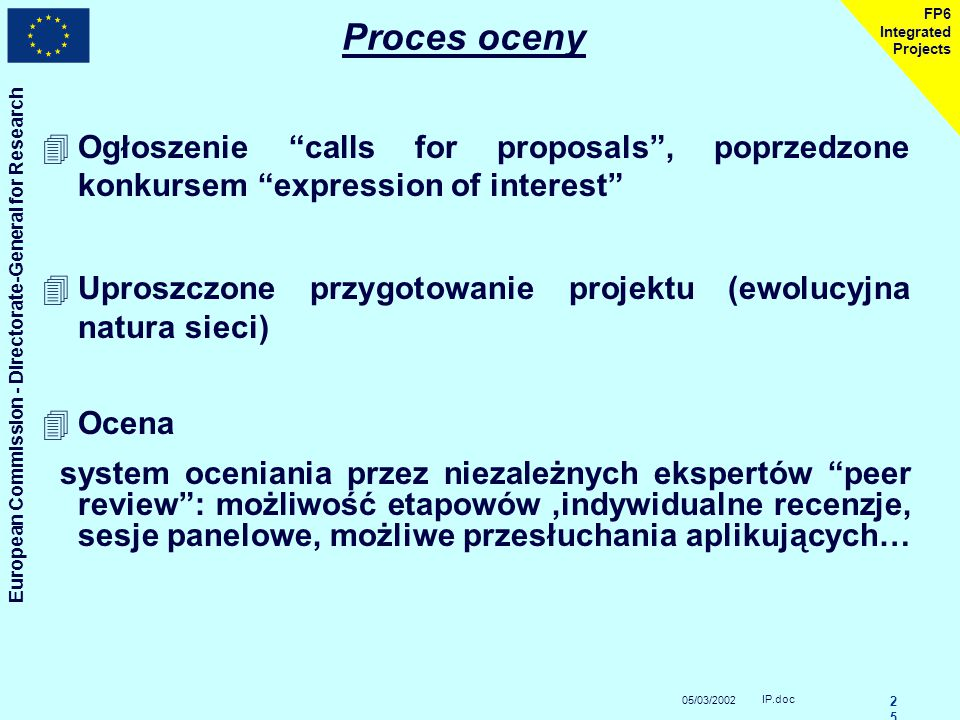 05/03/2002 European Commission - Directorate-General for Research IP.doc 2424 FP6 Integrated Projects Zasady finansowania (2) ( tymczasowe) Płatność r