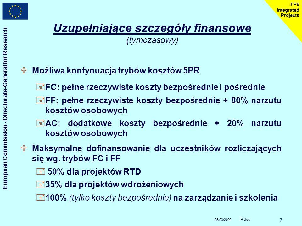 05/03/2002 European Commission - Directorate-General for Research IP.doc 7 FP6 Integrated Projects Uzupełniające szczegóły finansowe (tymczasowy) UMożliwa kontynuacja trybów kosztów 5PR +FC: pełne rzeczywiste koszty bezpośrednie i pośrednie +FF: pełne rzeczywiste koszty bezpośrednie + 80% narzutu kosztów osobowych +AC: dodatkowe koszty bezpośrednie + 20% narzutu kosztów osobowych UMaksymalne dofinansowanie dla uczestników rozliczających się wg.