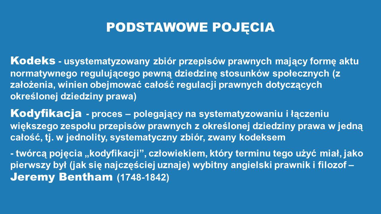 PODSTAWOWE POJĘCIA Kodeks - usystematyzowany zbiór przepisów prawnych mający formę aktu normatywnego regulującego pewną dziedzinę stosunków społecznyc