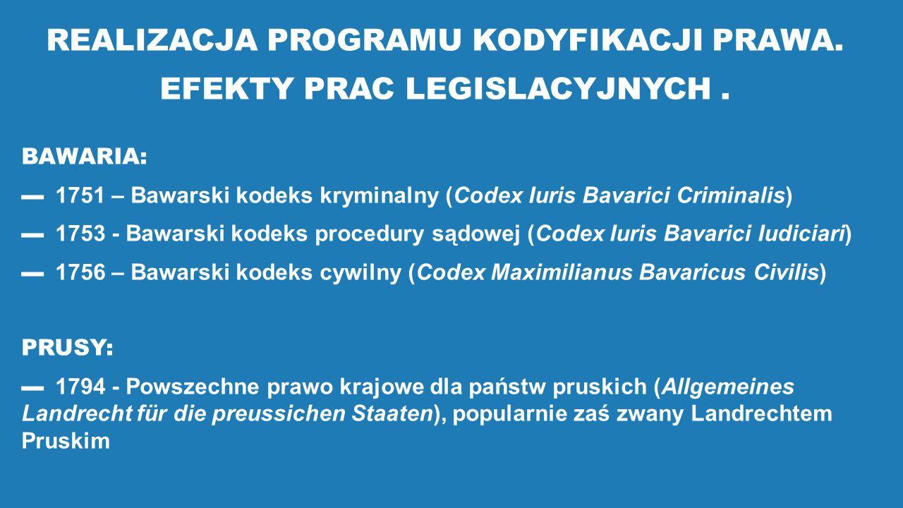REALIZACJA PROGRAMU KODYFIKACJI PRAWA. EFEKTY PRAC LEGISLACYJNYCH. BAWARIA: ▬1751 – Bawarski kodeks kryminalny (Codex Iuris Bavarici Criminalis) ▬1753