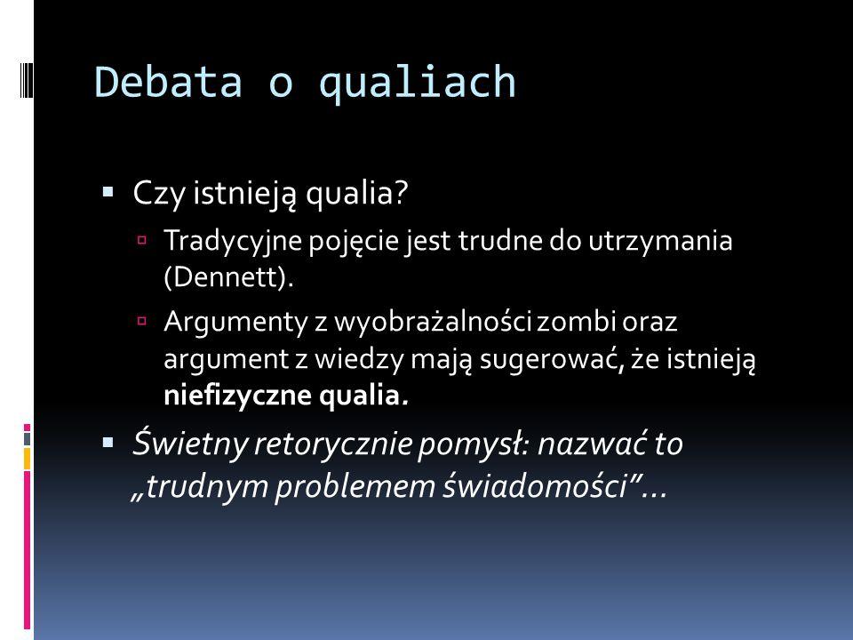 Debata o qualiach  Czy istnieją qualia?  Tradycyjne pojęcie jest trudne do utrzymania (Dennett).  Argumenty z wyobrażalności zombi oraz argument z
