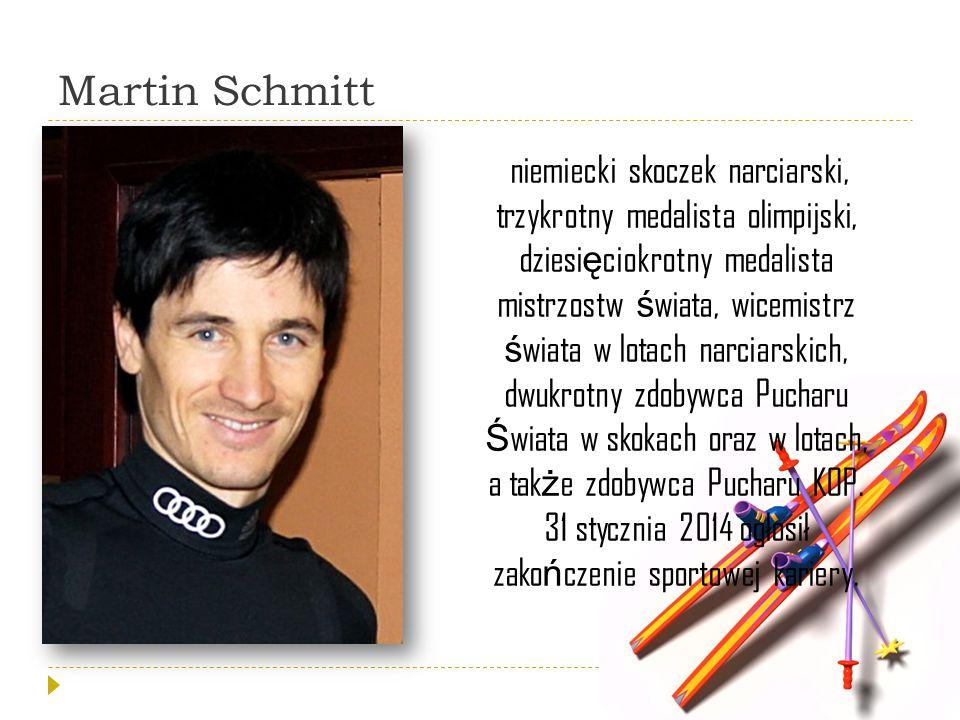 Martin Schmitt niemiecki skoczek narciarski, trzykrotny medalista olimpijski, dziesi ę ciokrotny medalista mistrzostw ś wiata, wicemistrz ś wiata w lo