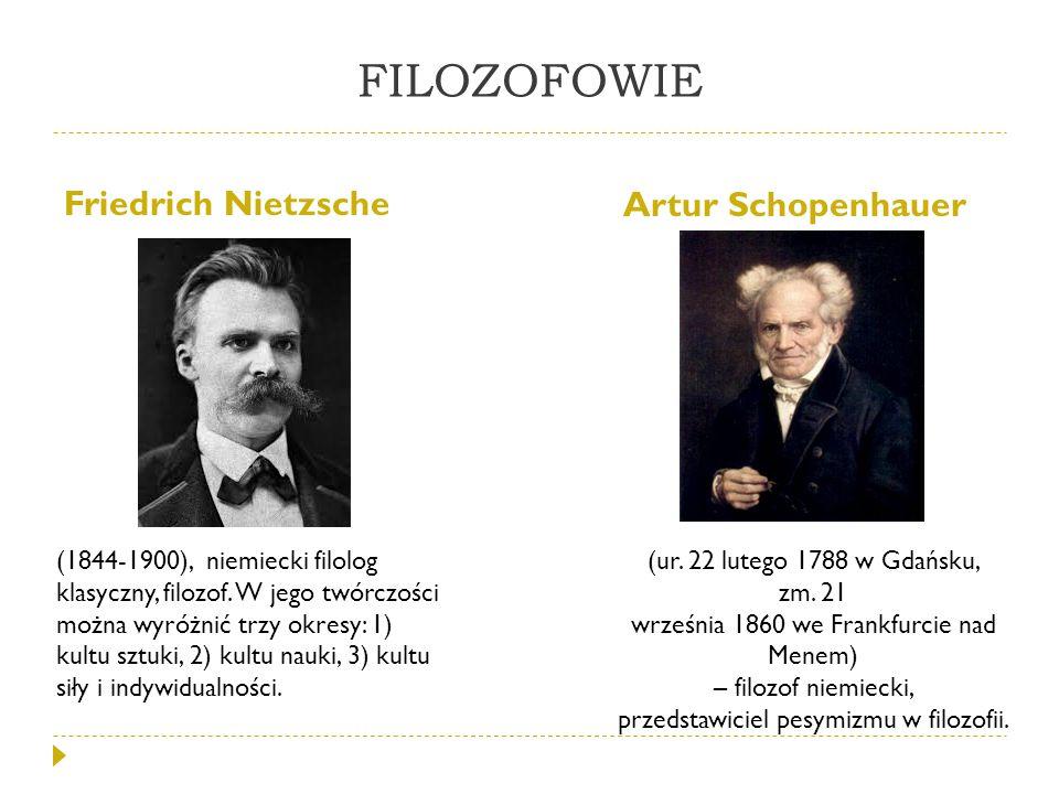 FILOZOFOWIE Friedrich Nietzsche Artur Schopenhauer (1844-1900), niemiecki filolog klasyczny, filozof. W jego twórczości można wyróżnić trzy okresy: 1)