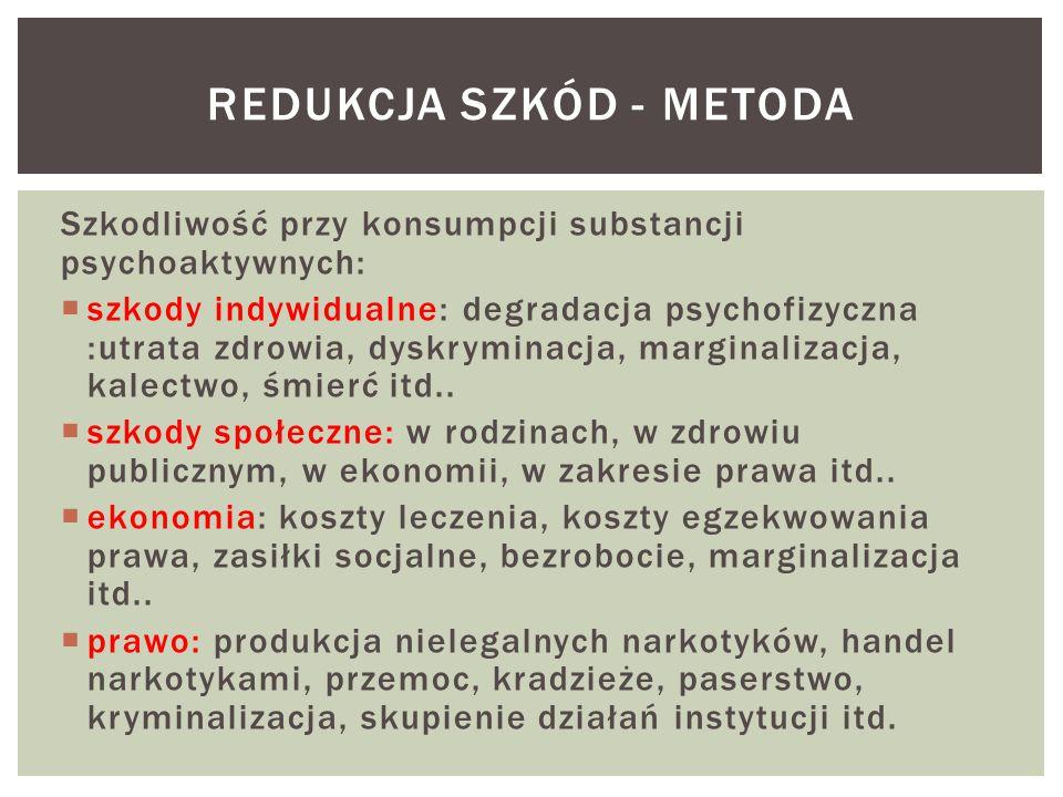 Szkodliwość przy konsumpcji substancji psychoaktywnych:  szkody indywidualne: degradacja psychofizyczna :utrata zdrowia, dyskryminacja, marginalizacja, kalectwo, śmierć itd..