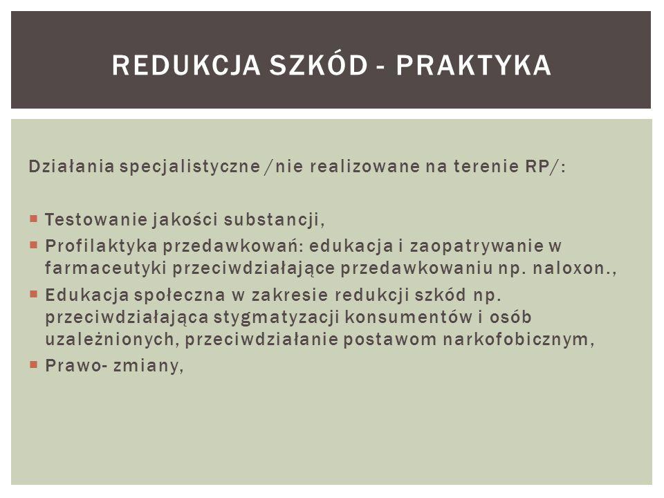 Działania specjalistyczne /nie realizowane na terenie RP/:  Testowanie jakości substancji,  Profilaktyka przedawkowań: edukacja i zaopatrywanie w farmaceutyki przeciwdziałające przedawkowaniu np.