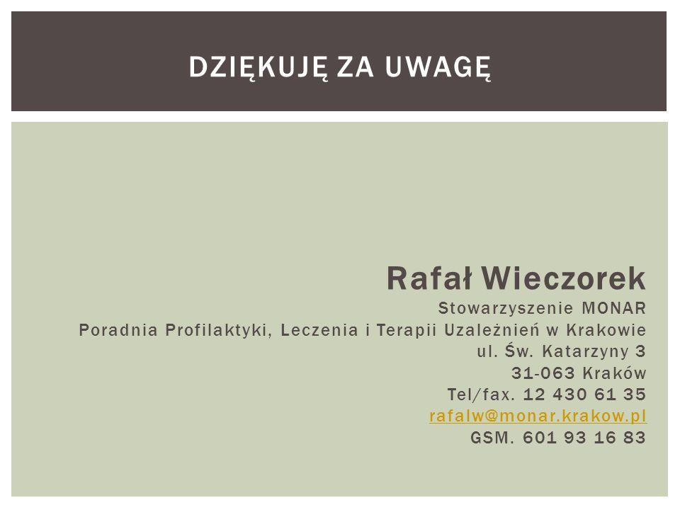 Rafał Wieczorek Stowarzyszenie MONAR Poradnia Profilaktyki, Leczenia i Terapii Uzależnień w Krakowie ul. Św. Katarzyny 3 31-063 Kraków Tel/fax. 12 430