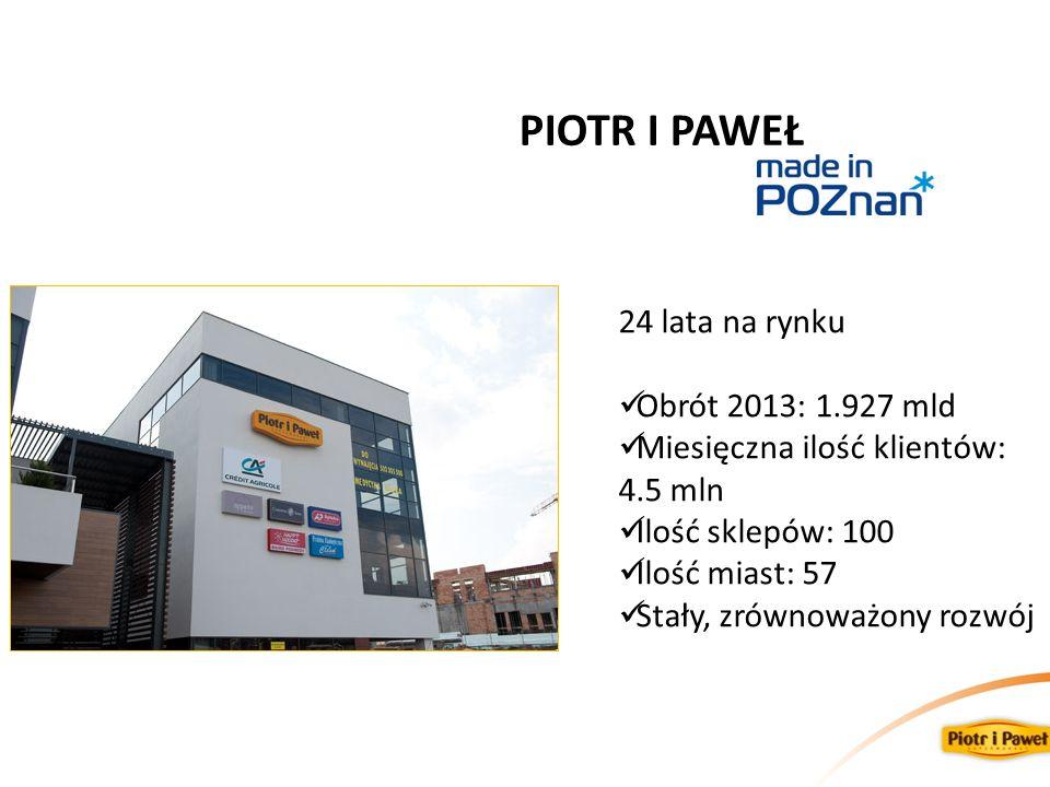 24 lata na rynku Obrót 2013: 1.927 mld Miesięczna ilość klientów: 4.5 mln Ilość sklepów: 100 Ilość miast: 57 Stały, zrównoważony rozwój PIOTR I PAWEŁ