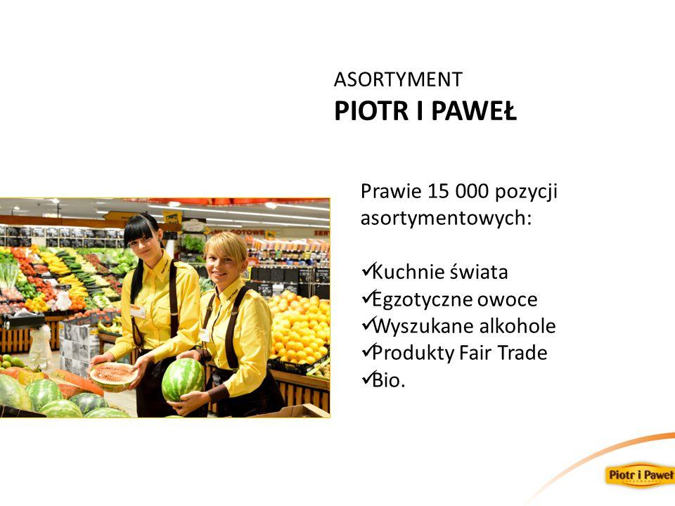 ASORTYMENT PIOTR I PAWEŁ Prawie 15 000 pozycji asortymentowych: Kuchnie świata Egzotyczne owoce Wyszukane alkohole Produkty Fair Trade Bio.