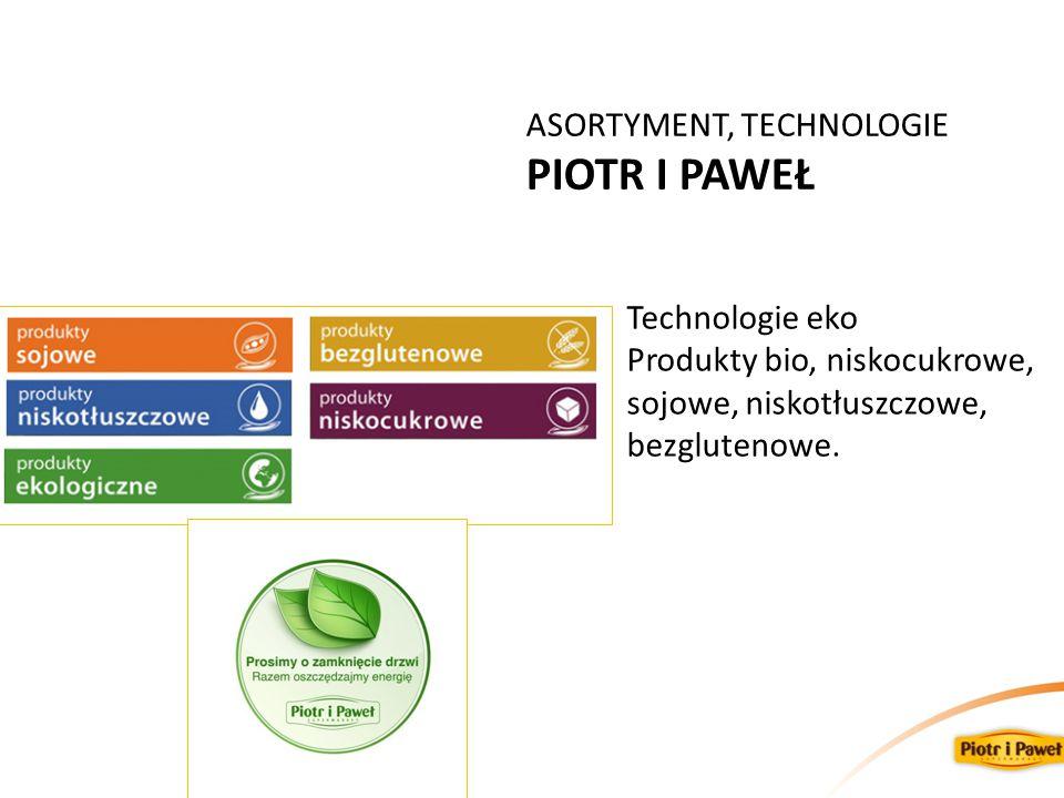 ASORTYMENT, TECHNOLOGIE PIOTR I PAWEŁ Technologie eko Produkty bio, niskocukrowe, sojowe, niskotłuszczowe, bezglutenowe.