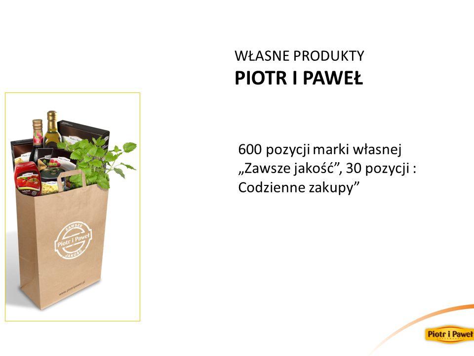 """WŁASNE PRODUKTY PIOTR I PAWEŁ 600 pozycji marki własnej """"Zawsze jakość"""", 30 pozycji : Codzienne zakupy"""""""