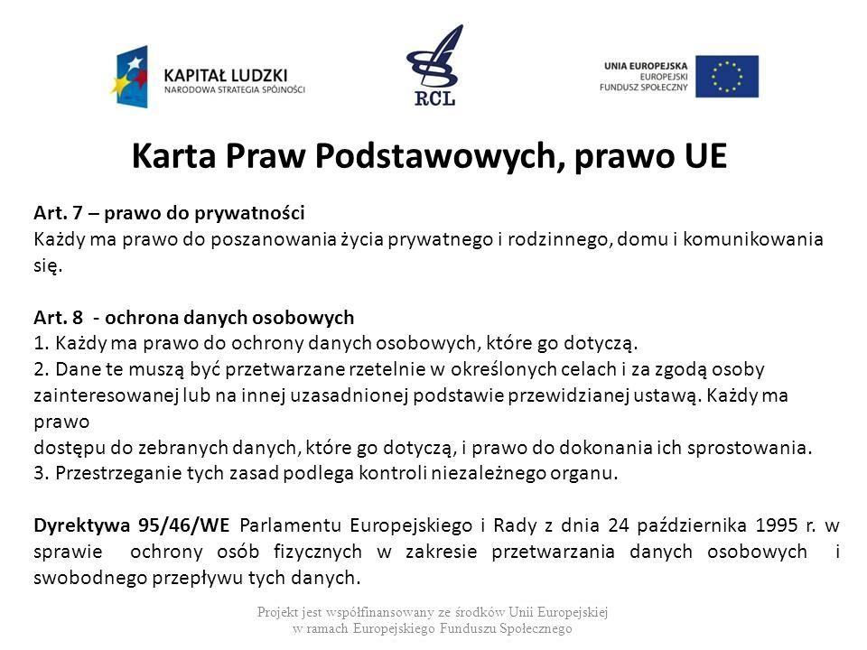 Karta Praw Podstawowych, prawo UE Projekt jest współfinansowany ze środków Unii Europejskiej w ramach Europejskiego Funduszu Społecznego Art. 7 – praw