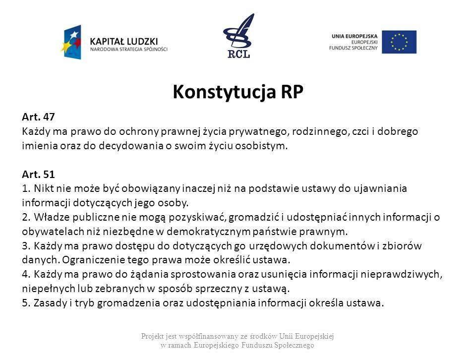 Konstytucja RP Projekt jest współfinansowany ze środków Unii Europejskiej w ramach Europejskiego Funduszu Społecznego Art. 47 Każdy ma prawo do ochron