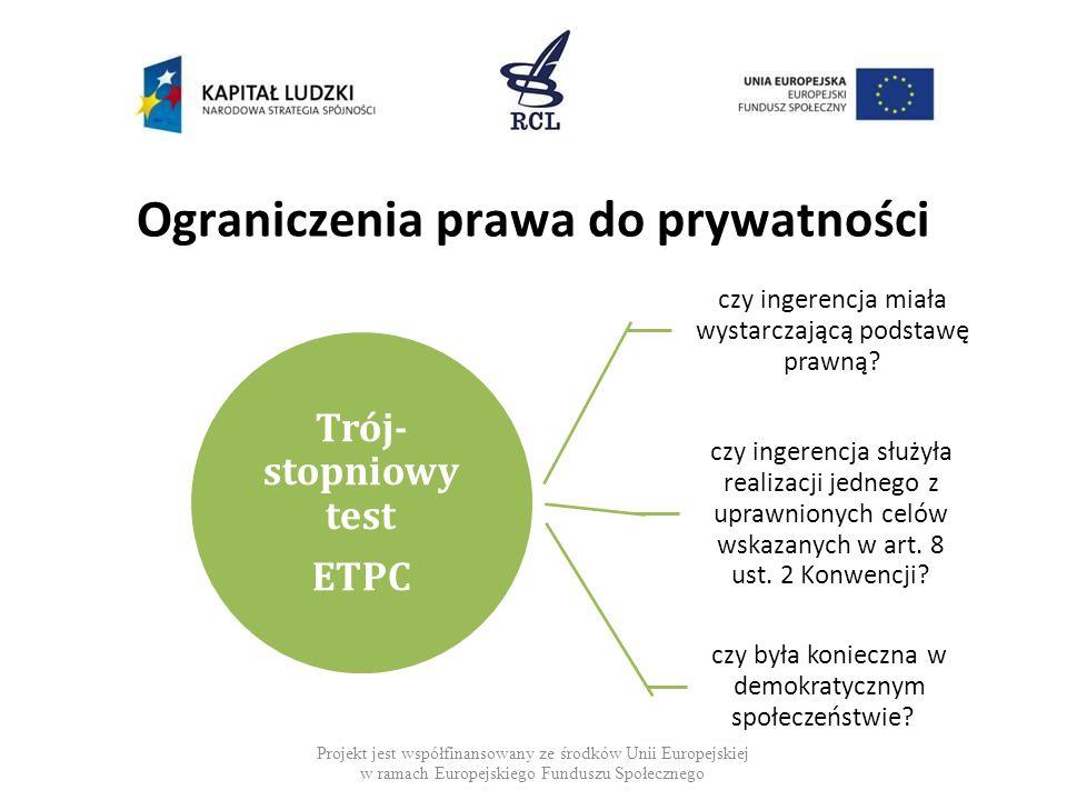 Ograniczenia prawa do prywatności Projekt jest współfinansowany ze środków Unii Europejskiej w ramach Europejskiego Funduszu Społecznego Trój- stopniowy test ETPC czy ingerencja miała wystarczającą podstawę prawną.