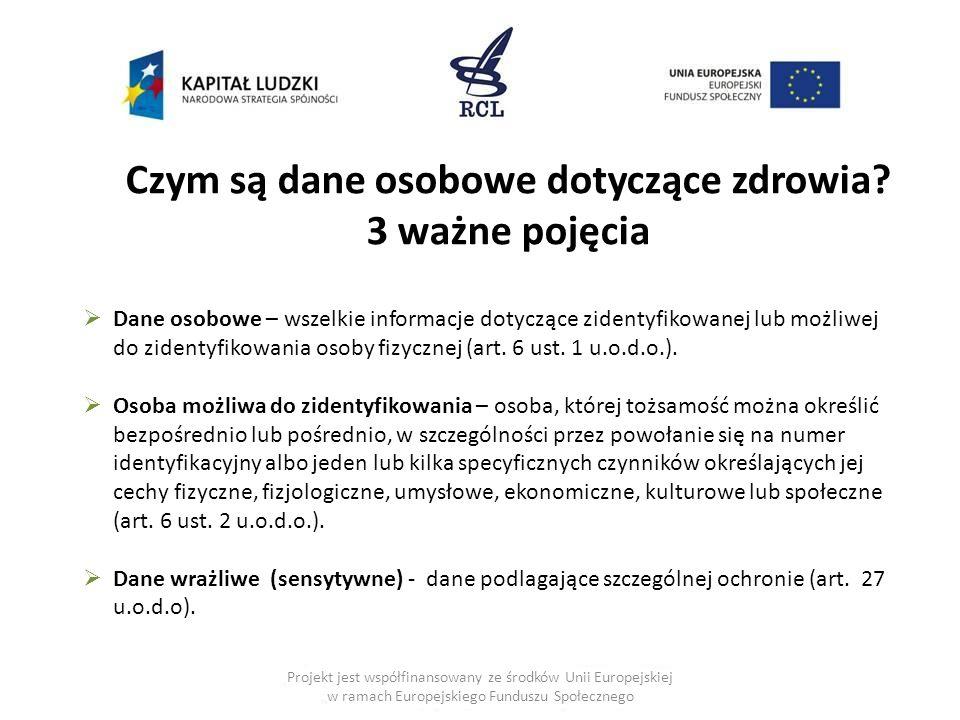 Projekt jest współfinansowany ze środków Unii Europejskiej w ramach Europejskiego Funduszu Społecznego Czym są dane osobowe dotyczące zdrowia? 3 ważne