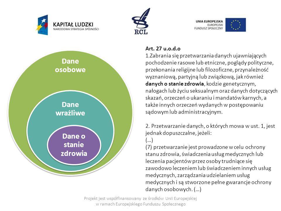 Projekt jest współfinansowany ze środków Unii Europejskiej w ramach Europejskiego Funduszu Społecznego Dane osobowe Dane wrażliwe Dane o stanie zdrowia Art.
